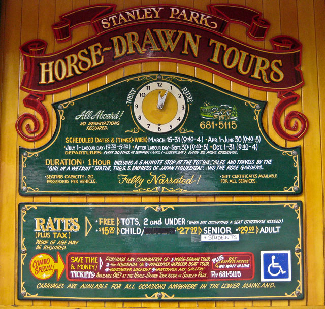 Horarios y tarifas Stanley Park Horse-Drawn Tours