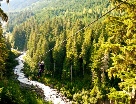 Tirolina en Whistler con Ziptrek Ecotours, empresa de actividades de aventura