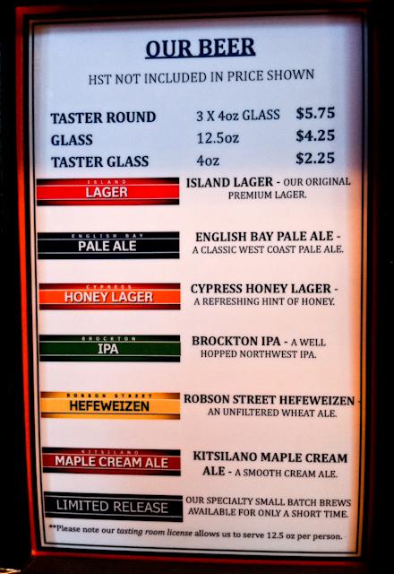 Carta de cervezas Granville Island