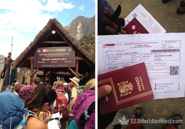 Control pasaportes Camino Inca
