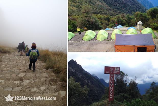 Paso de la mujer Muerta Camino Inca, campamento Pacuaymayo