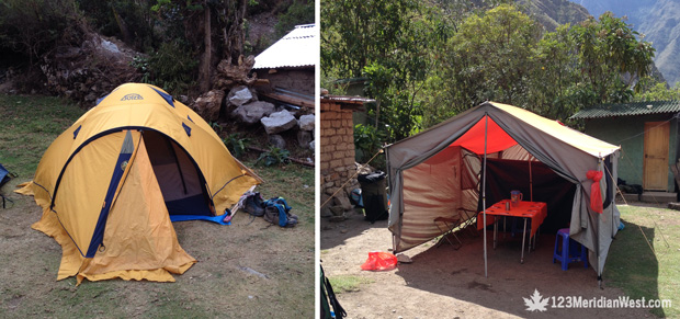 Tiendas de campaña Camping Tours, Camino Inca