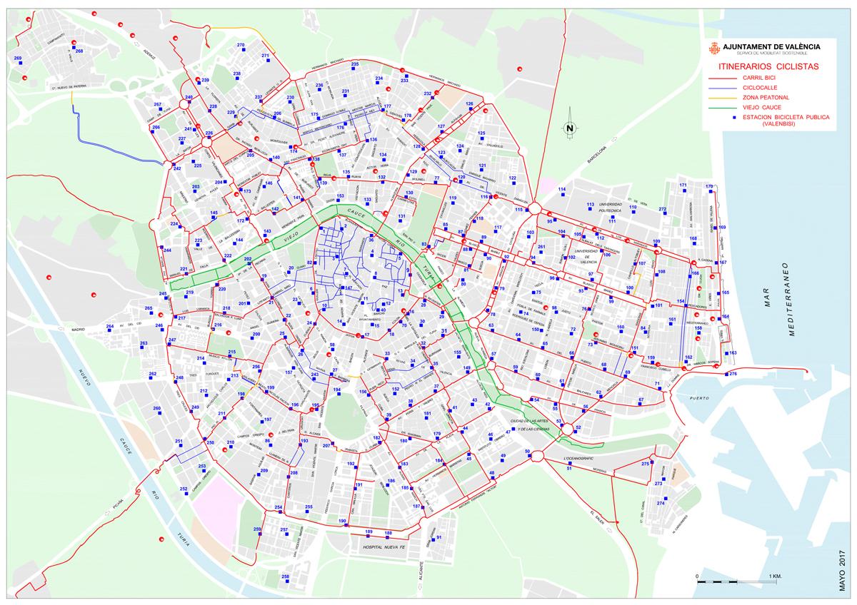 Mapa de carriles bici Valencia