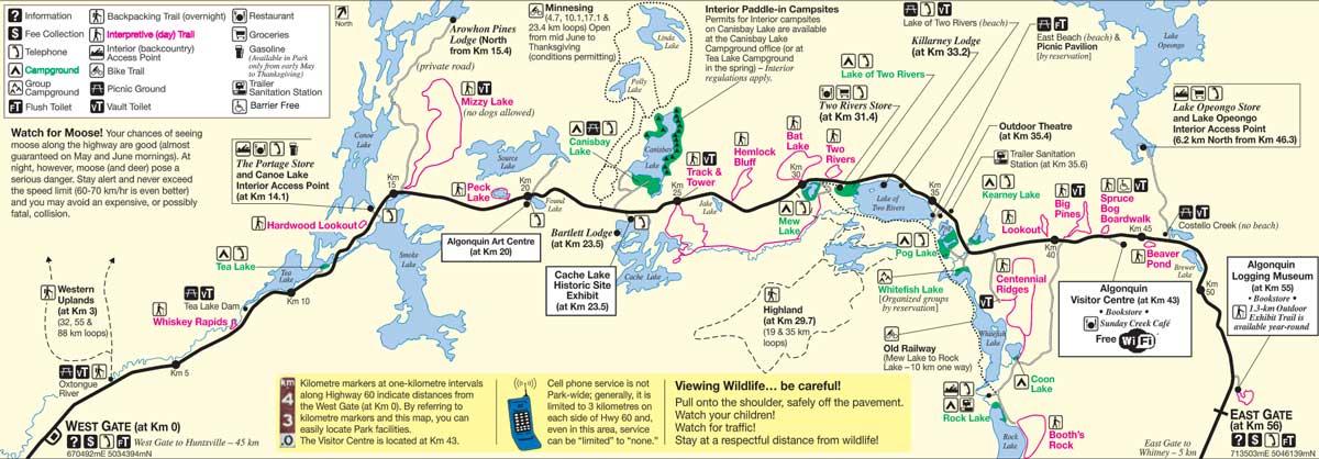 Mapa Algonquin Park Canada