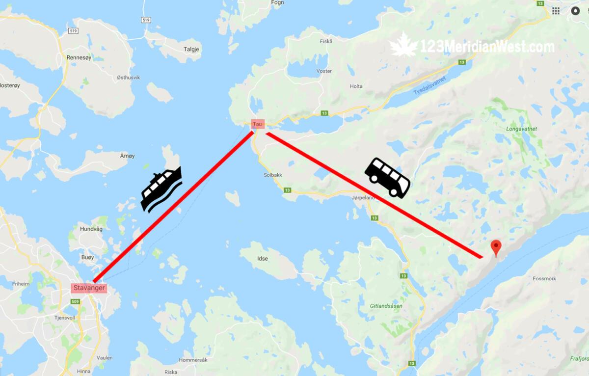 cómo llegar al Preikestolen desde Stavanger